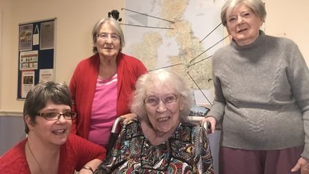 Nancy Bond-Webster, well-being lead at St Michaels Court in Aylsham, and residents Jean Gunton, Aile