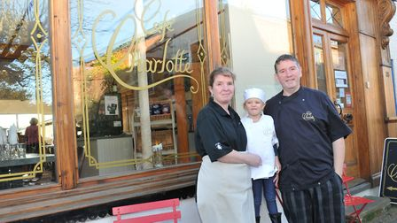 The opening of Cafe Charlotte in Stalham with Steve, Clare and Charlotte Traynor. Picture by John Mc