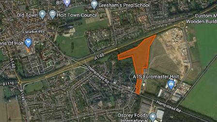 The site of the proposed homes off Hempstead Road, Holt. Image: Google
