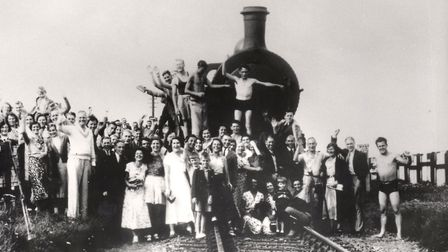 Pre-war guests at Caister Holiday Camp with the steam locomotive that delivered them to the special