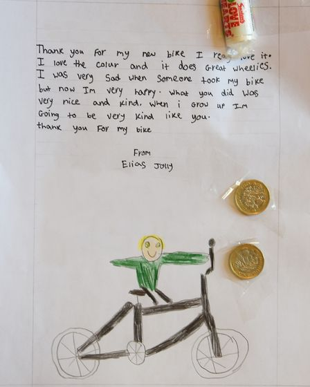 The thank you letter eight-year-old Elias Jolly has written to the businessman who gave him a new bi
