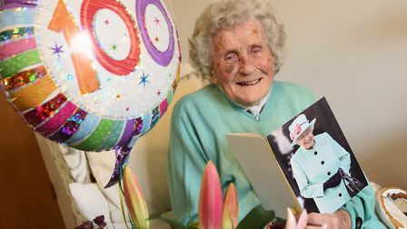 Pattie Knopp celebrates her 100th birthday at Lloyd Court at High Kelling. Picture: DENISE BRADLEY