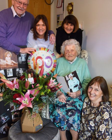 Pattie Knopp celebrates her 100th birthday at Lloyd Court at High Kelling, with her daughter Veronic