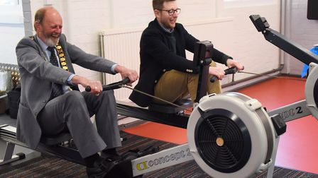 Mayor of Cromer, Richard Leeds, and North Norfolk MP Duncan Baker race each other on the rowing mach