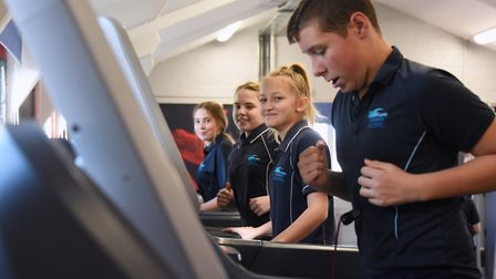 Students on the running machines at the new Cromer Academy Gym. Picture: DENISE BRADLEY