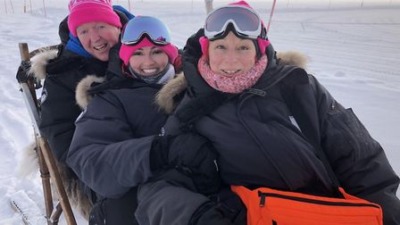 Alex Swift (middle) completed a two-day cross country skiing trek in Sweden for Walk the Walk breast
