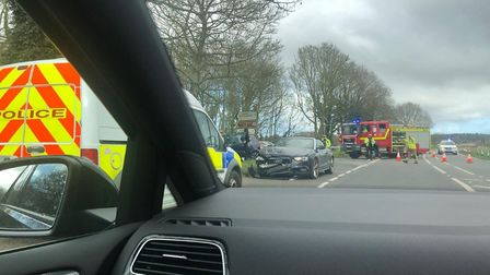 Two cars were involved in a crash on the A148 near Sheringham. Picture: Archant