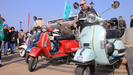 Classic scooters on show at last year's Cromer Pier Vintage 1960s Festival Picture: KAREN BETHELL