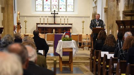 Paul Williams, president of the Holt Rugby Club, gives the Eulogy at the funeral of George Cushing S