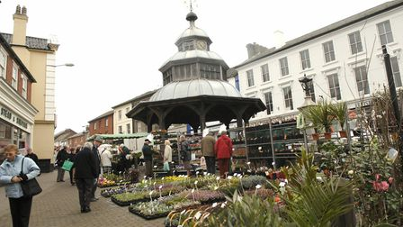 Market Place, North Walsham; GV of the Thursday Market. Picture: Archant