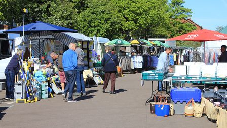 Sheringham market, where stall holders are attracting far fewer customers since the coronavirus outb