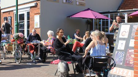 Cafe culture in Sheringham town centre.Picture: KAREN BETHELL