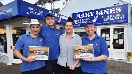 Malcolm Hannah, Conor Powell, Abbie Lee and Debbie Mileham from Mary Janes Fish and Chip shop. Pictu