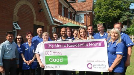 The Mount care home in Aylsham was given a free Samsung galaxy tablet by the Round Table. This pictu