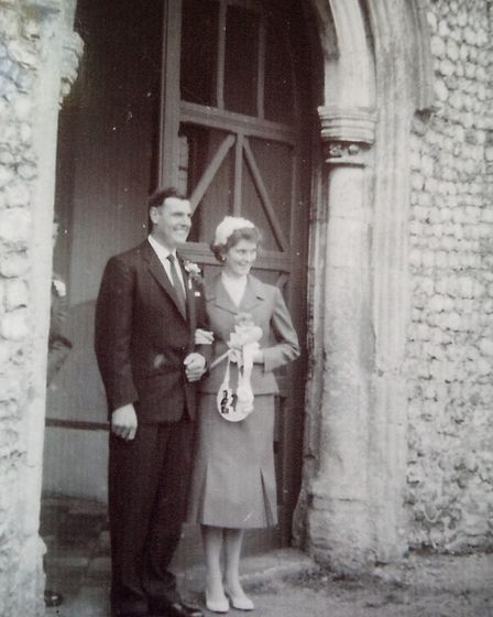 Pat and Brian Cottrell, of Holt, on their wedding day on April 2, 1960 at Saxthorpe church. Picture: