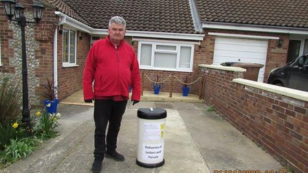 Terry Conquest's DIY bin to help delivery drivers during the coronavirus outbreak. Pictures: Terry C