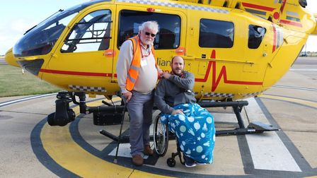 Charles Morris, left, who saved the life of Dave Woodhouse after he came off his motorbike on a quie