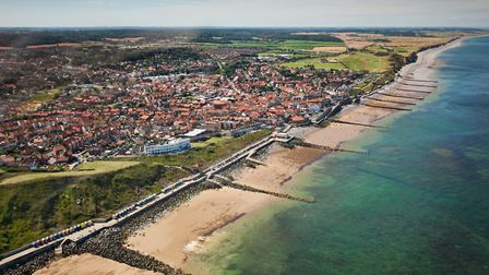 An aerial view of Sheringham on the north Norfolk coast. Picture: Chris Taylor