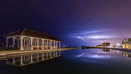 Lightning over the boating lake in Sheringham. Picture: Chris Taylor
