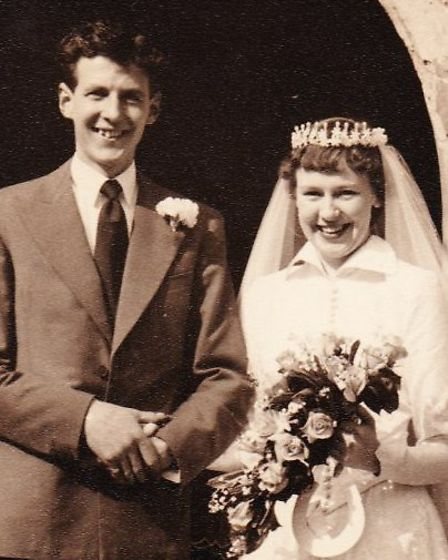 Rosemary and Keith Turner on their wedding day. The couple, who live in Wroxham, are celebrating the