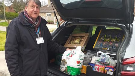 Friends chairman Keith Jarvis with the first batch of grocery goodies delivered to hospital staff. P