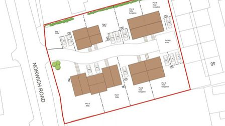 A plan of the new homes which would be built on the site of Holt Police Station on Norwich Road. Ima