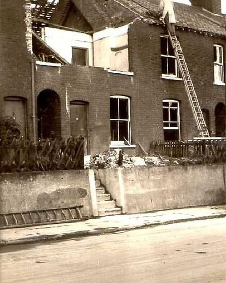 Houses in Central Road, Cromer, were damaged by bombs in the Second World War. Picture: Supplied by