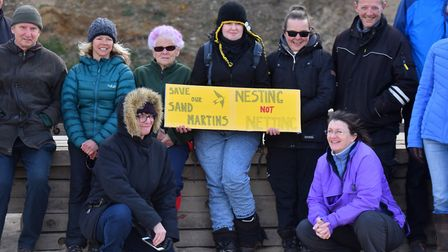 Campaigners protesting the netting over the sand martin breeding site in 2019. PICTURE: Jamie Honeyw
