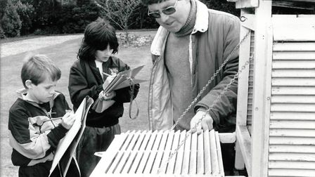 Pupils learn to use weather equipment at Holt Hall in 1992. Picture: Archant Library
