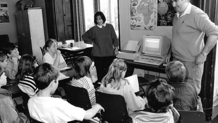A lesson front of one of them new-fangled computer machines at Holt Hall in May 1992. Picture: Archa