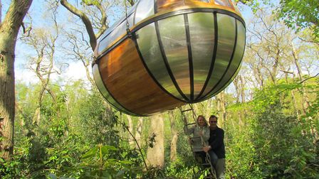 Emma Knights and Oli Franzen outside the AirHotel's El Ambassador pod at Holt Hall in 2012.. Picture