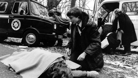 A mock accident being staged at Holt Hall as part of St John Ambulance training in 1986. Picture: Ar