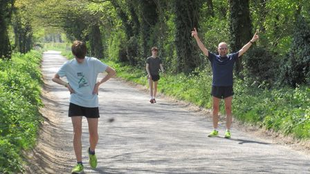 From left, Innes, Oli and Paul O'Malley from the North Norfolk Harriers completing a lockdown run. P
