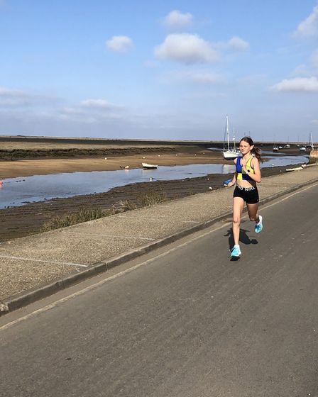 Abbi McCallum from the North Norfolk Harriers completing a lockdown run. Picture: North Norfolk Harr