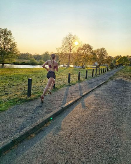 Sophi McKee from the North Norfolk Harriers completing a lockdown run. Picture: North Norfolk Harrie