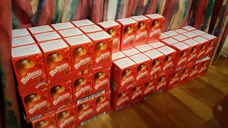 Mundesley Free church distributed Easter eggs to families in the village. The eggs before distributi