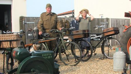David and Angie Garrett displaying their wartime bikes. Picture: Maurice Gray