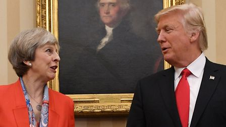 Prime Minister Theresa May meeting US President Donald Trump in the Oval Office