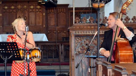 Brian Eade and Tina Blaber, who performed on the musical video to mark VE Day. It shows members of t