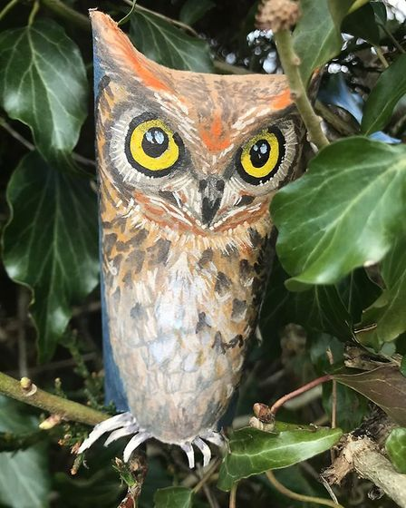 An owl created by @MorayHouseArt1 as part of Pinkfoot Gallery's loo roll art challenge. Picture: @Mo