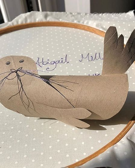 A friendly seal made by Norfolk's Abigail Mill as part of Pinkfoot Gallery's loo roll art challenge.