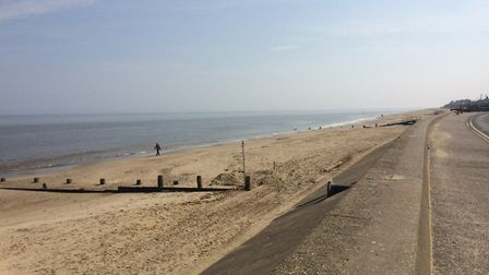 North Norfolk coast on lockdown on Easter Sunday,. This pictures shows Walcott beach. Pictures: Davi