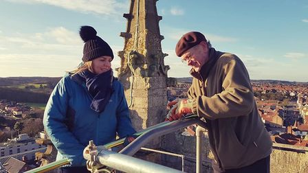 Cromer Peregrine Project founder member Eddie Anderson and Hawk and Owl Trust urban peregrine projec
