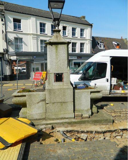 Gas mains work near the water fountain in North Walsham town centre. Pictures: NWTC