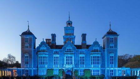 Blickling in blue to mark clap for carers. Picture: National Trust