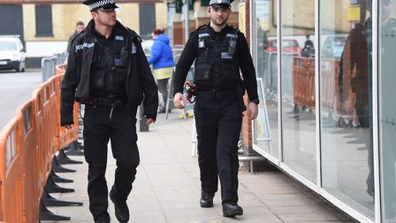 Cromer police, Pc Joey Mazzetti, left, and PC Cameron Askew, patrol Morrisons making sure the public