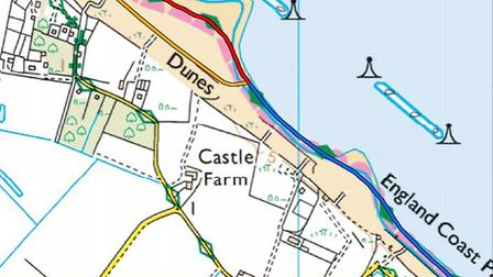 A map of the Norfolk Coast Path seasonal diversion at Eccles-on-Sea, which comes into place for seve
