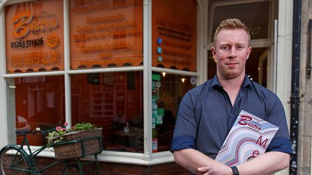 Chairman of Cromer's Chamber of Trade, Sam Grout, outside his cafe The Old Rock Shop Bistro. Photo: