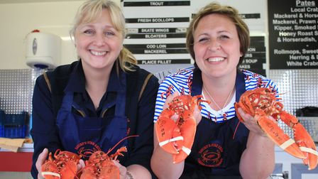 Claire Davies and Louise Hyde of Davies Fish Shop at the Crab and Lobster Festival.Picture: KAREN BE