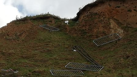 Barriers blocking the way into a car park in Overstrand were thrown down the side of a cliff. Pictur